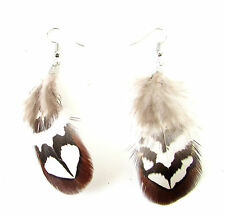 Brown White Silver Real Pheasant Feather Earrings Festival Boho Drop Dangle 8AS