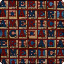 "25"" (2 Pieces) Debbie Mumm AMERICA Flag STARS Quilt Block USA PATRIOTIC Fabric"