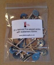 50mm Wicks With Sustainers 20pk Natural Wax Candle Making Pre Waxed Craft