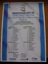 05/10/2013 Colour Teamsheet: Birmingham City v Bolton Wanderers.  Any faults wit