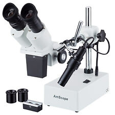 AmScope SE402Z 10X-20X-40X Stereo Binocular Microscope Boom Arm + Light