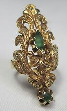 Antique 18ct Gold Byzantine Natural Emerald & Old Cut Diamond Ring