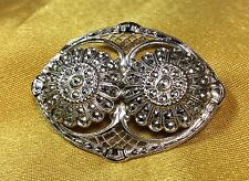 Vintage Sterling Silver / Marcasite Brooch Pin
