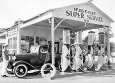 1933 Ford Coupe at a Signal Gasoline station 8 x 10 Photograph