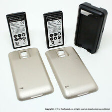2 x 6500mAh Extended Battery for Samsung Galaxy S5 SV I9600 Gold Cover Dock