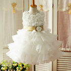 3D Flower Tutu Layered Baby Girls Toddler Princess Party Wedding Bow Dress
