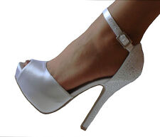 White Satin Rhinestone Platform Peep Toe Bridal Heels Pumps Shoes 5.5