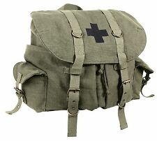 Vintage Olive Drab Compact Weekender Canvas Backpack w/ Military Medic Cross