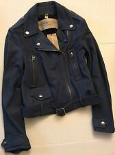 Burberry Brit Pattersby Leather Moto Jacket Brand New NWT UK 8 US 6 EU 40 Blue