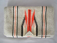 Vintage Chimayo Grey & Red Indian Blanket Purse Handmade All Wool Silver Clasp