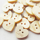 Upick Love Heart Wood Buttons Sewing appliques Kid's DIY Lots 50/100/500pcs
