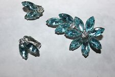 JULIANA  pin AND EARRING SET WITH STUNNING BLUE STONES-EXCELLENT