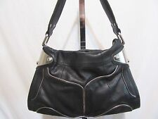 B. Makowsky Large Black Leather Hobo Shoulder Handbag EUC!!
