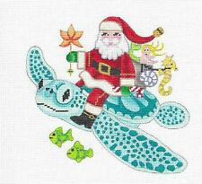 "*2017* ""Santa Riding a Sea Turtle"" on 24 mesh HP Needlepoint Canvas by B. Stofft"