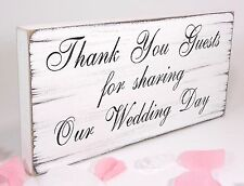 Free Standing Vintage Wedding Table Sign - Shabby but Chic - Thank You Guests