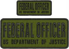 federal officer us department of justice emb patch 4x10 &2x5 hook on backOD