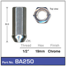 OPEN ENDED 19mm HEX ,50mm LONG    FORD FALCON  CHROME WHEEL NUT 1/2 inch UNF