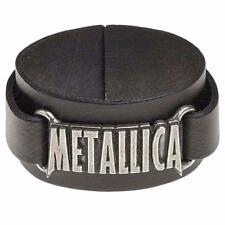ALCHEMY ROCKS METALLICA LOGO WRISTBAND BLACK REAL LEATHER PEWTER JAMES HETFIELD