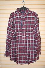 NEW CROFT & BARROW MENS SIZE 4XLB 4XL BURGUNDY TATSAL SQUARE BUTTON DOWN SHIRT