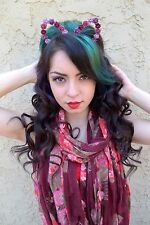 Cat Ears Flower Headband - Floral Cat Ears - Pink Purple Red Rose Headband