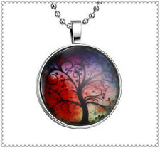Vogue Glow in the Dark Red Lucky Tree Cabochon Silver Glass Pendant Necklace