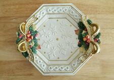 Vintage Fitz & Floyd Hand Painted Platter w/ Sculpture of Christmas Decor