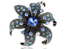 Aquamarine Blue Sapphire Crystal Rhinestone Dark Silver Tone Flower Pin Brooch