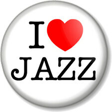 "I Love / Heart JAZZ 1"" 25mm Pin Button Badge Music Style Band Piano Blues Soul"