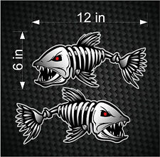 "2 12"" Digital Skeleton Fish Vinyl Decals for Boat Fishing graphics Bone sticker"