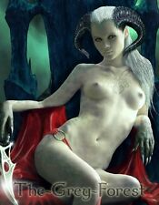 Dagon Horned Demon Fairy elf gothic nude Devil girl Erotic Fantasy fine Art 8x10