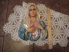 VINTAGE COLUMBIA STATUARY CHALKWARE ITALY IMMACULATE HEART OF MARY PLAQUE FIGURE