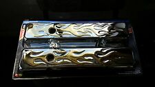 SMALL BLOCK CHEVY SBC V8 CHROME STEEL 24K GOLD PLATED FLAME VALVE COVERS PAIR
