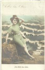 Org 1905-17 French Divided Back RPPC- Semi Nude Woman- Bathing Beauty- At Beach