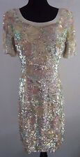VTG 1980s Black Tie Oleg Cassini Pastel Sequin Dress Womans 8