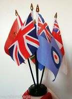 TABLE FLAG SET OF 5 British Armed Forces ARMY NAVY MARINES RAF UNION JACK FLAGS