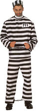 Men's Prisoner Costume Black & White Shirt Pants Hat Convict Adult Size XLarge