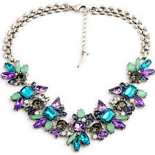 Fashion Women Crystal Pendant Chain Silver Plated Bib Statement Choker Necklace