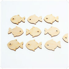 10pcs 3cm(W) WOODEN MINI OCEAN SEA FISH CRAFT DECOR CARD DIY MAKING SCRAPBOOKING