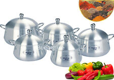 ALUMINIUM CASSEROLE 10PC BELLY POT SET SAUCEPAN STOCKPOT COOKING FOOD SET