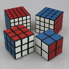 Set Of 4 Rubik Cube Collection Speedcube 2x2 3x3 4x4 5x5 Black Base ShengShou