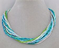 Blue Green Crystal Czech Glass Bead Necklace Magnetic Clasp Fashion Jewelry NEW