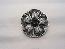 Vintage Black and Silver Filagree Round Scarf Clip West Germany - 725