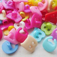 New letters Plastic Button backhole lots Mix 100pcs