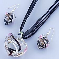 Heart Lampwork Murano Glass Pendant Ribbon Necklace Cord Earrings Set Hot Friend