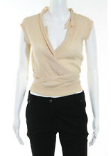 MARC JACOBS Brown Cachmere sleeveless Belted V Neck Top Sz S