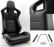 2 BLACK PVC LEATHER CARBON LOOK TRIM RACING SEAT RECLINABLE + SLIDERS TOYOTA **