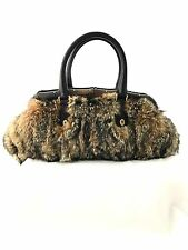 GUCCI FUR LEATHER BAMBOO TOP HANDLE BAG PURSE VINTAGE