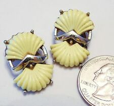 Vtg Signed CORO Clip Earrings, Pale Yellow Thermoset Double Shells, GT Chevron