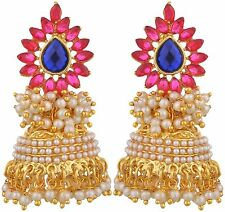 Aashiqui 2 Kundan Pearl Jhumki Jhumka Pink Blue Awesome Designer Earrings Set