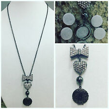 """BLING GUN METAL LOCKET ESSENTIAL OIL DIFFUSER NECKLACE AROMATHERAPY OILS 28"""""""